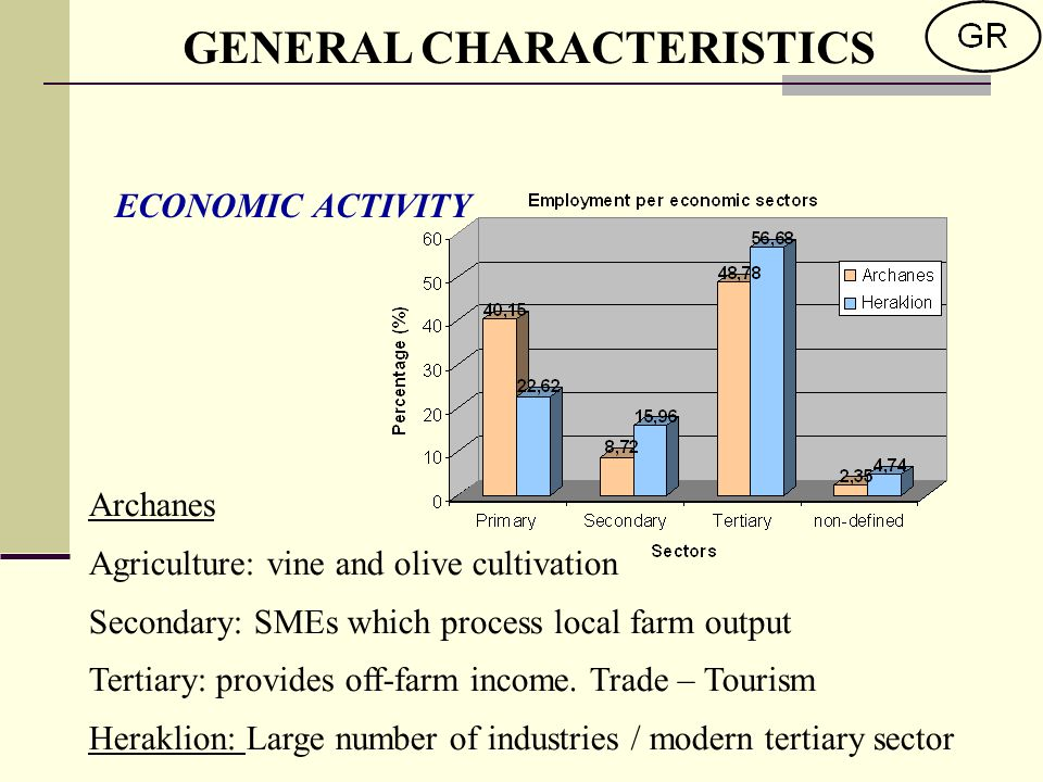 ECONOMIC ACTIVITY GENERAL CHARACTERISTICS Archanes Agriculture: vine and olive cultivation Secondary: SMEs which process local farm output Tertiary: provides off-farm income.