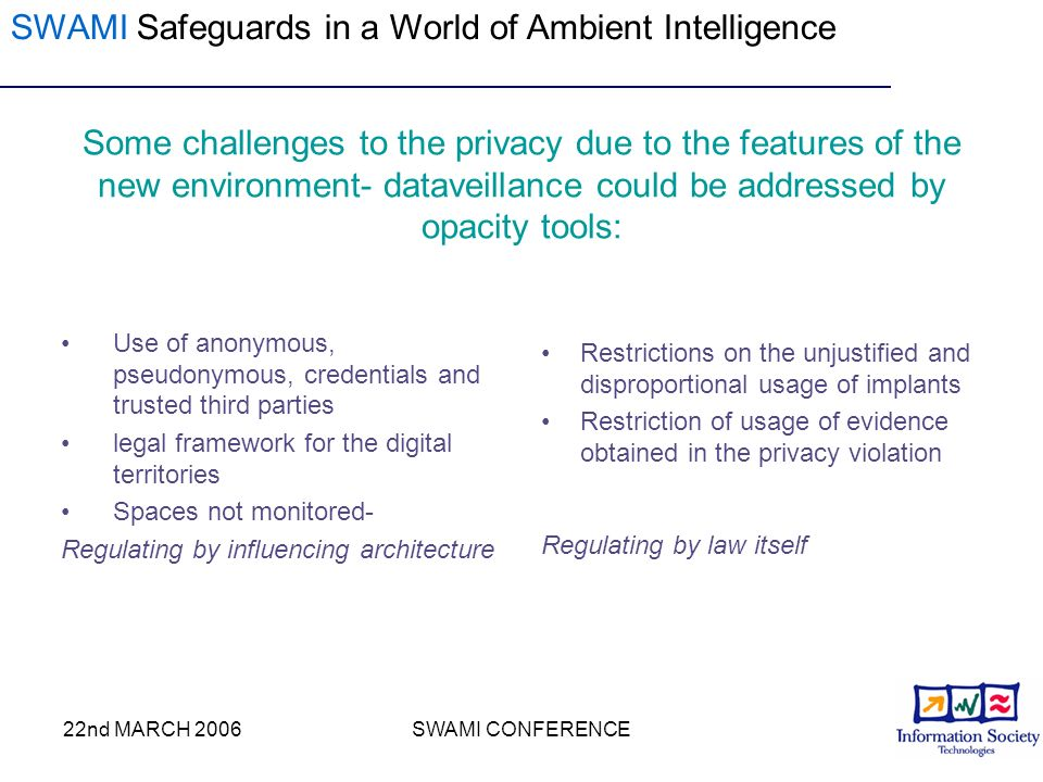 22nd MARCH 2006SWAMI CONFERENCE Some challenges to the privacy due to the features of the new environment- dataveillance could be addressed by opacity