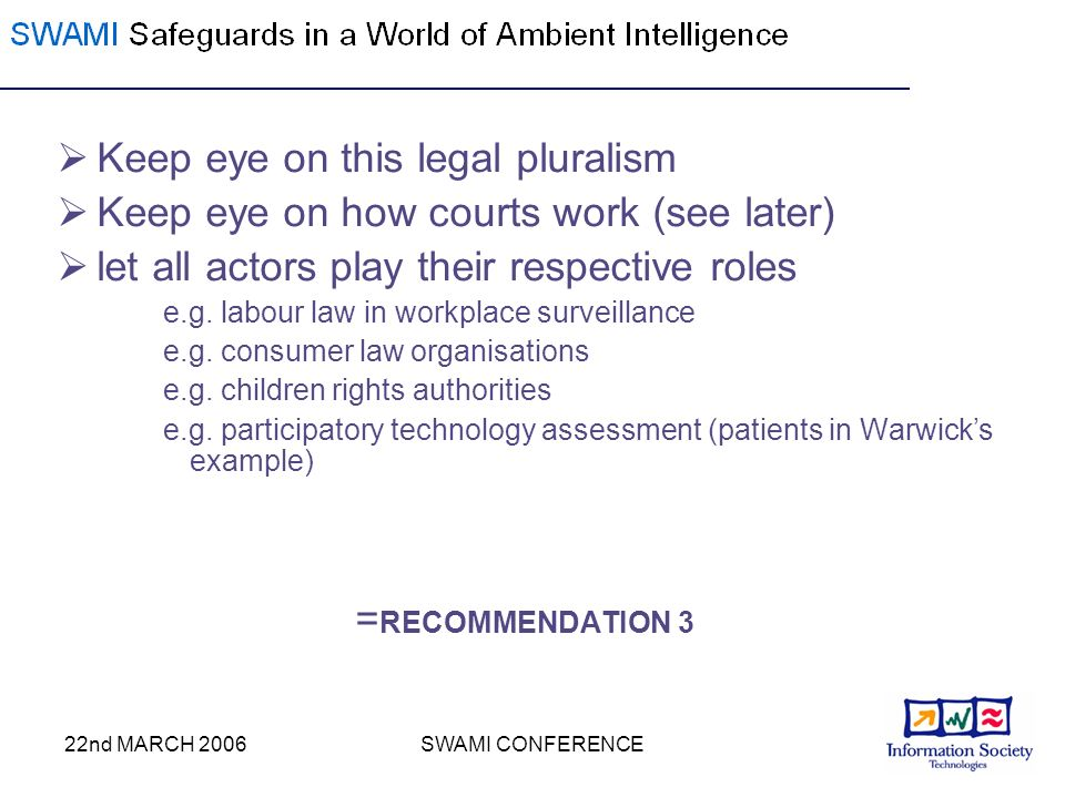 22nd MARCH 2006SWAMI CONFERENCE Keep eye on this legal pluralism Keep eye on how courts work (see later) let all actors play their respective roles e.g.
