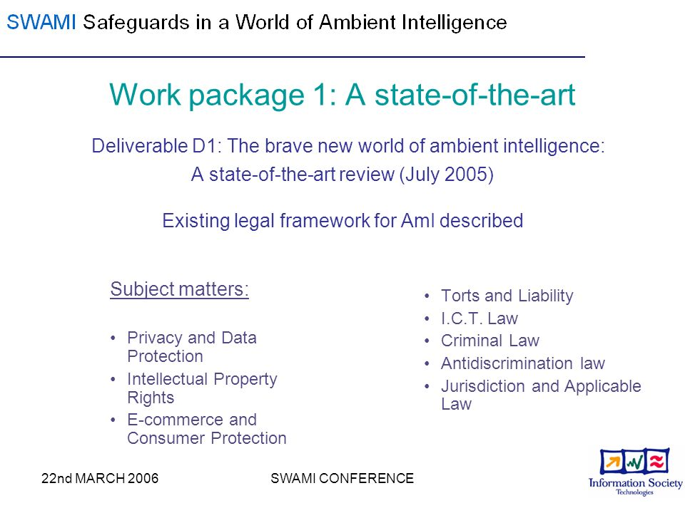 22nd MARCH 2006SWAMI CONFERENCE Work package 1: A state-of-the-art Deliverable D1: The brave new world of ambient intelligence: A state-of-the-art rev