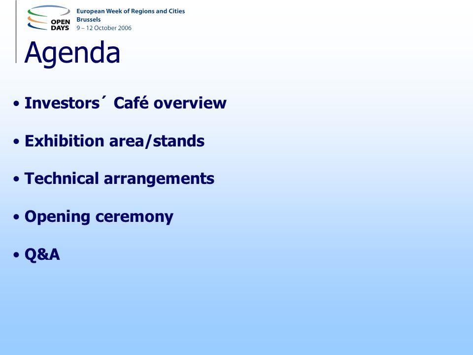 Agenda Investors´ Café overview Exhibition area/stands Technical arrangements Opening ceremony Q&A