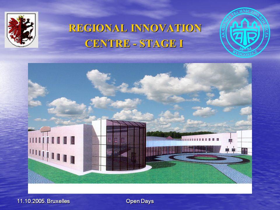 11.10.2005. BruxellesOpen Days REGIONAL INNOVATION REGIONAL INNOVATION CENTRE - STAGE I CENTRE - STAGE I