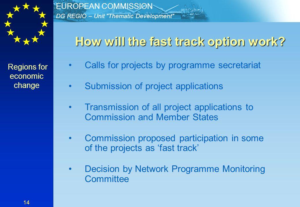 DG REGIO – Unit Thematic Development EUROPEAN COMMISSION 14 How will the fast track option work.