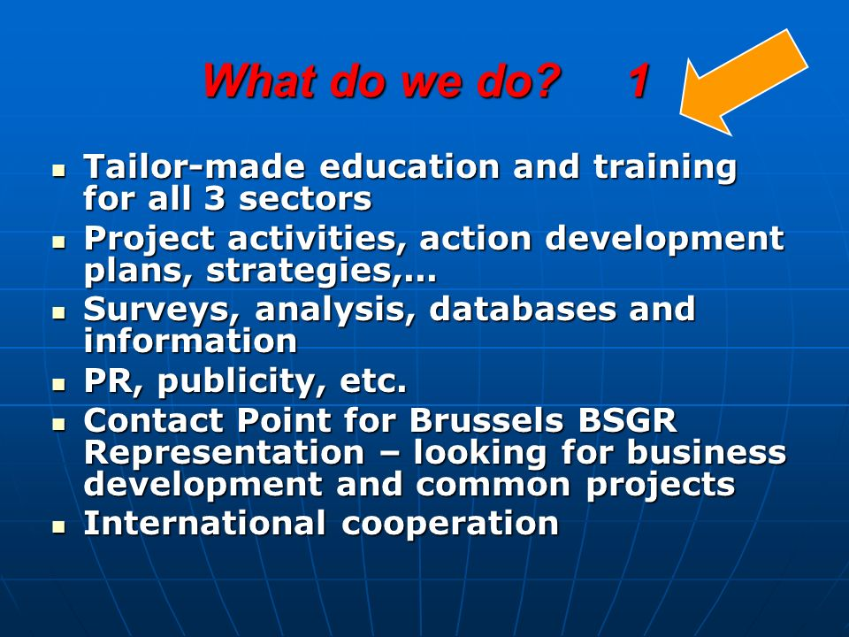 What do we do 1 Tailor-made education and training for all 3 sectors Tailor-made education and training for all 3 sectors Project activities, action development plans, strategies,...