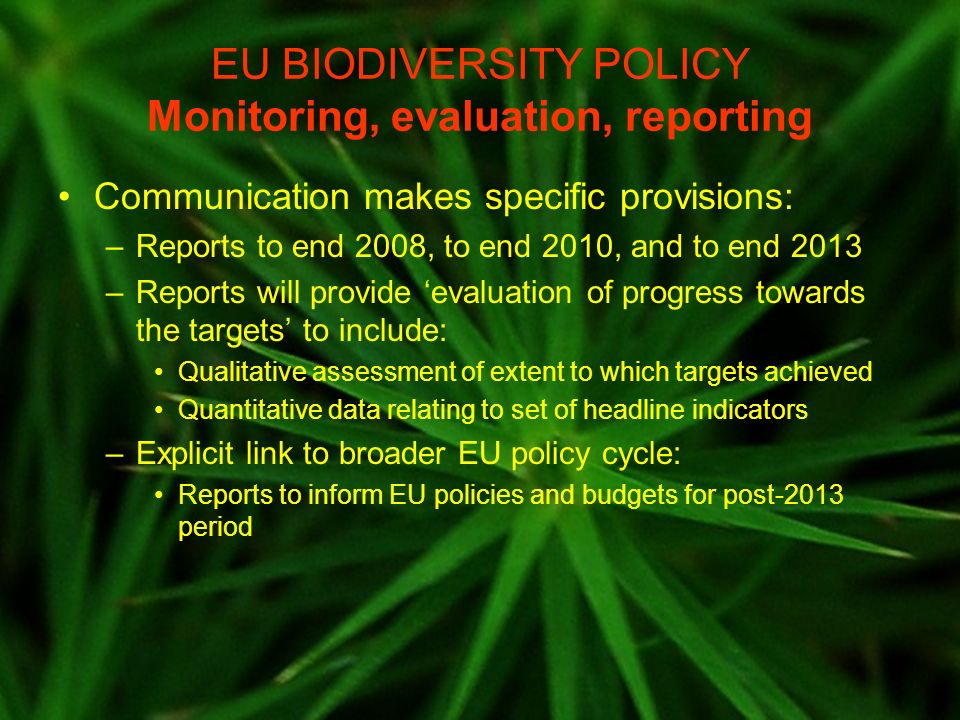 EU BIODIVERSITY POLICY Implications for ecosystem assessments EAs should contribute to qualitative and quantitative evaluation as defined in COM –synergy with work on indicators is vital EAs should inform on DPSIR –state of EU ecosystems, balance of natural capital, flows of ecosystem services (S) –drivers, pressures, impacts on EU ecosystems (DPI) –effectiveness of EU action plan in delivering targets (R) EAs should provide scenarios to inform debate on a longer-term vision, future policy developments