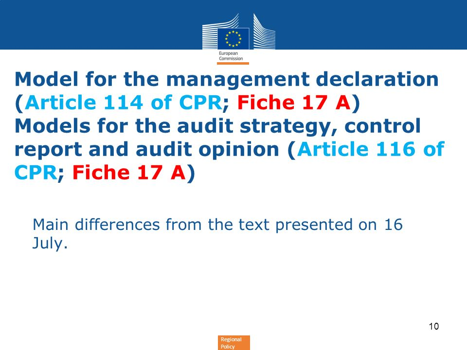 Regional Policy Model for the management declaration (Article 114 of CPR; Fiche 17 A) Models for the audit strategy, control report and audit opinion