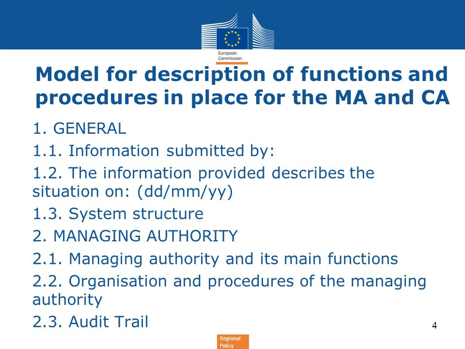 Regional Policy Model for description of functions and procedures in place for the MA and CA 2.6.