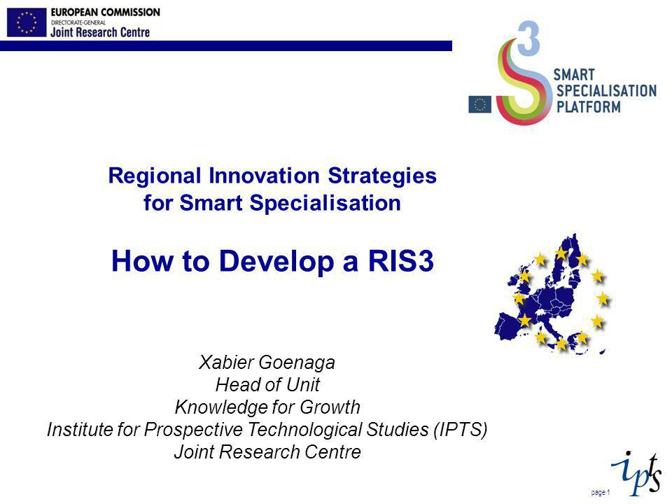 Step 10: (Peer) Review and update of RIS3 Formulating and implementing a RIS3 is a continuous process Need to regularly adapt and update the strategy Information and new insights are gathered during implementation and are incorporated into a new version of RIS3 What to review.
