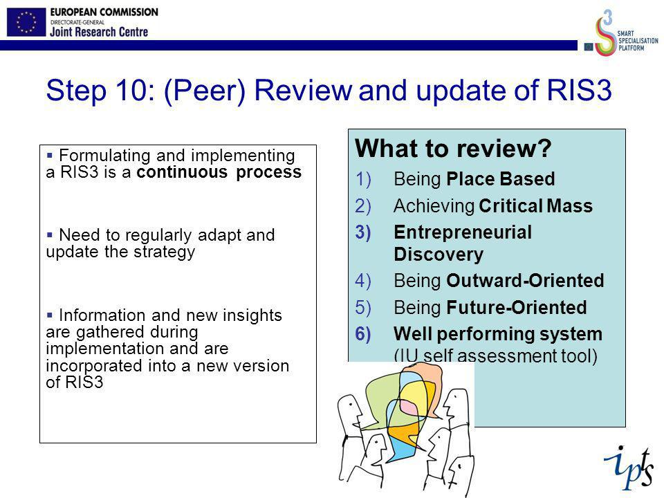 Step 10: (Peer) Review and update of RIS3 Formulating and implementing a RIS3 is a continuous process Need to regularly adapt and update the strategy