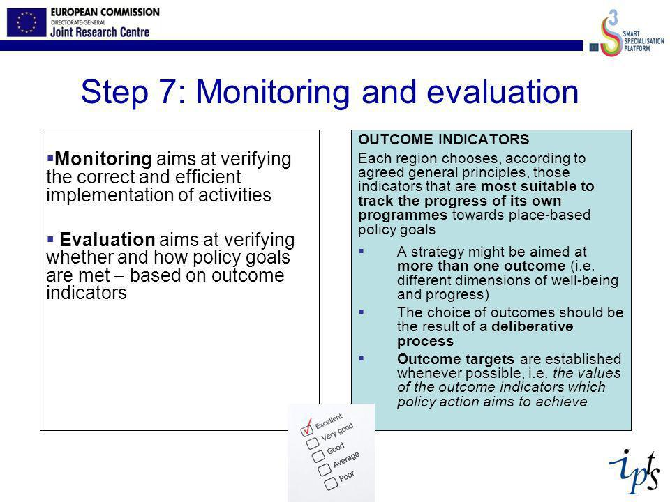 Step 7: Monitoring and evaluation Monitoring aims at verifying the correct and efficient implementation of activities Evaluation aims at verifying whe