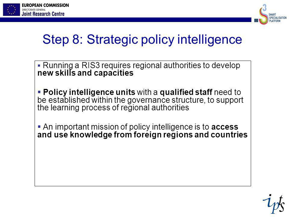 Step 8: Strategic policy intelligence Running a RIS3 requires regional authorities to develop new skills and capacities Policy intelligence units with