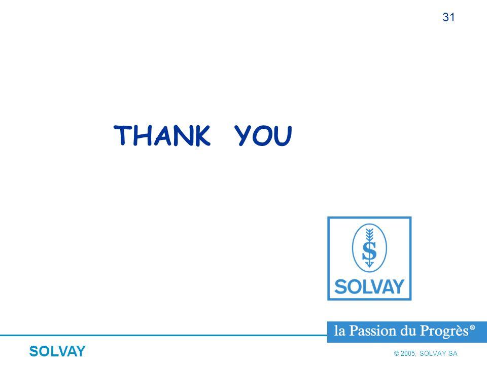 © 2005, SOLVAY SA SOLVAY 31 THANK YOU