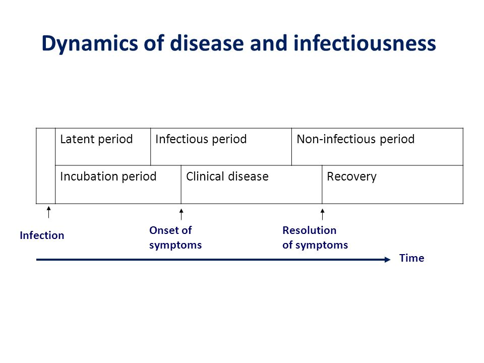 Dynamics of disease and infectiousness Latent periodInfectious periodNon-infectious period Incubation periodClinical diseaseRecovery Infection Time On