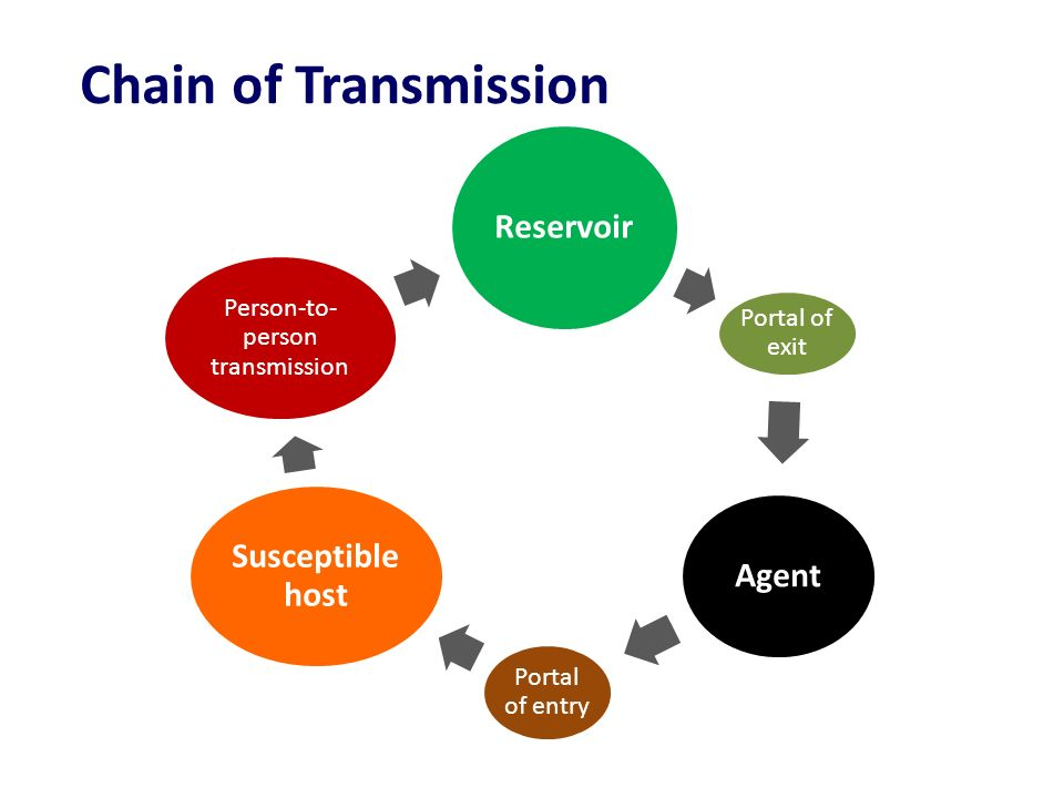 Reservoir Portal of exit Agent Portal of entry Susceptible host Person-to- person transmission Chain of Transmission