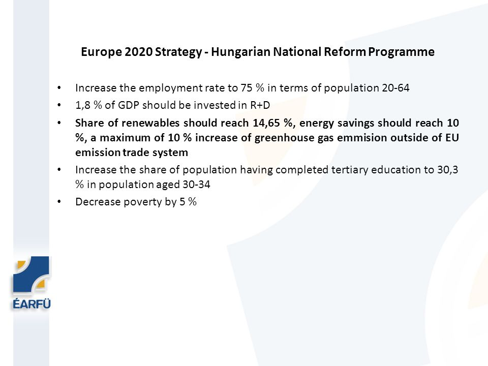Europe 2020 Strategy - Hungarian National Reform Programme Increase the employment rate to 75 % in terms of population 20-64 1,8 % of GDP should be invested in R+D Share of renewables should reach 14,65 %, energy savings should reach 10 %, a maximum of 10 % increase of greenhouse gas emmision outside of EU emission trade system Increase the share of population having completed tertiary education to 30,3 % in population aged 30-34 Decrease poverty by 5 %