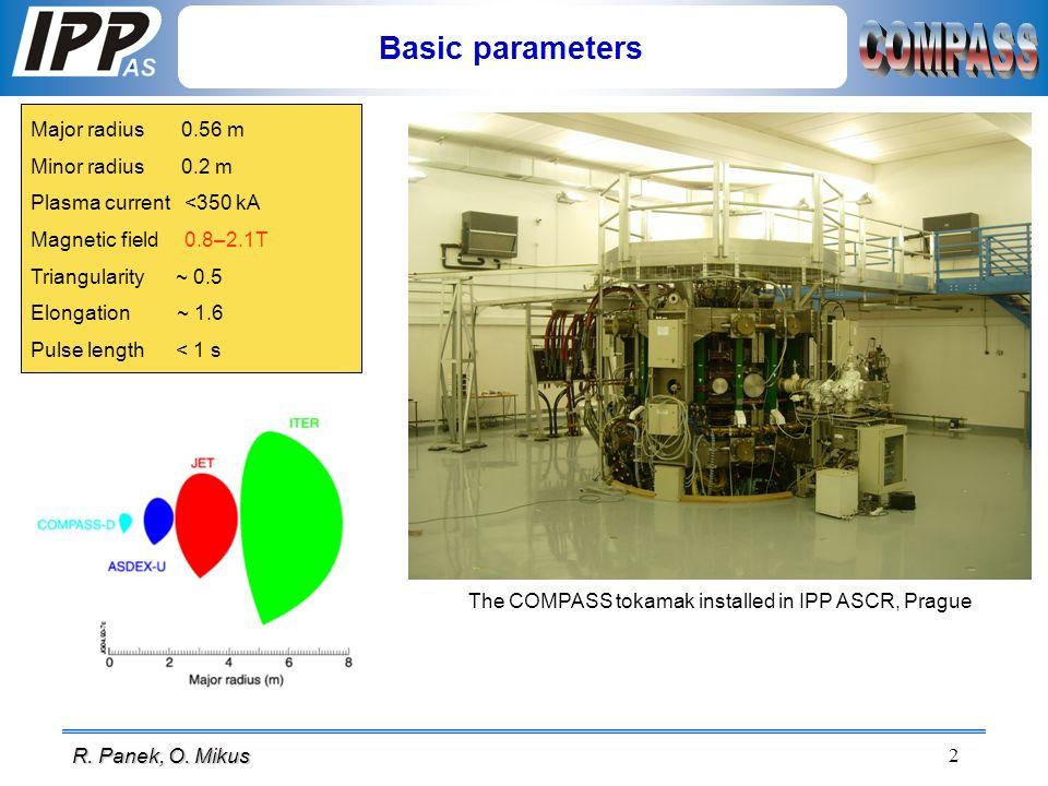 2 R. Panek, O. Mikus Basic parameters Major radius 0.56 m Minor radius 0.2 m Plasma current <350 kA Magnetic field 0.8–2.1T Triangularity ~ 0.5 Elonga