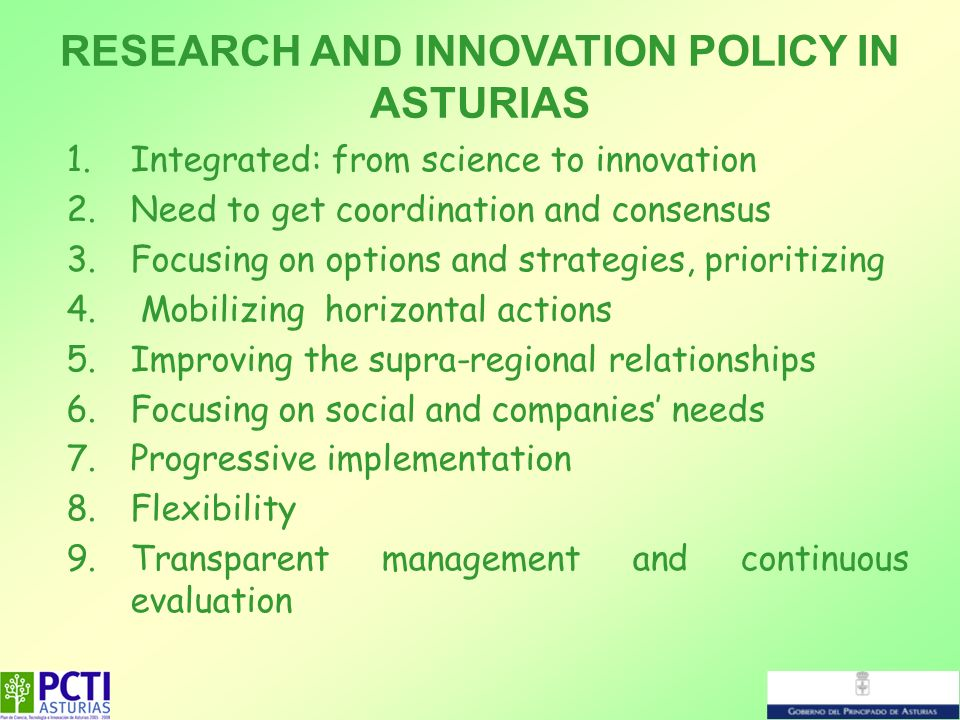 1.Integrated: from science to innovation 2.Need to get coordination and consensus 3.Focusing on options and strategies, prioritizing 4. Mobilizing hor