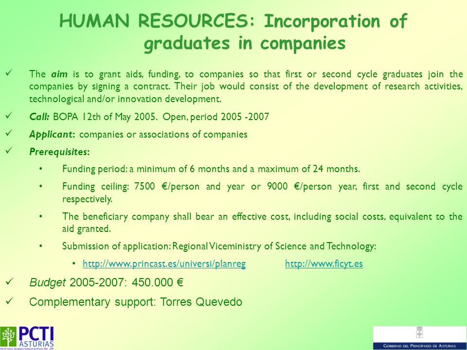 HUMAN RESOURCES: Incorporation of graduates in companies The aim is to grant aids, funding, to companies so that first or second cycle graduates join