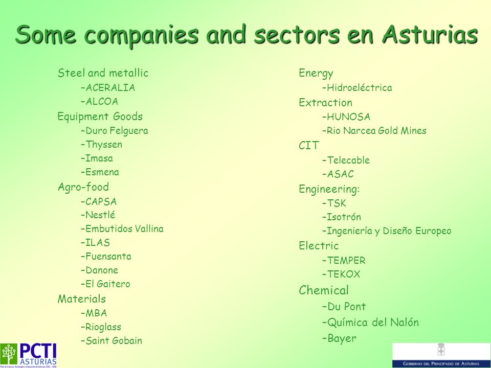 Some companies and sectors en Asturias Steel and metallic –ACERALIA –ALCOA Equipment Goods –Duro Felguera –Thyssen –Imasa –Esmena Agro-food –CAPSA –Ne