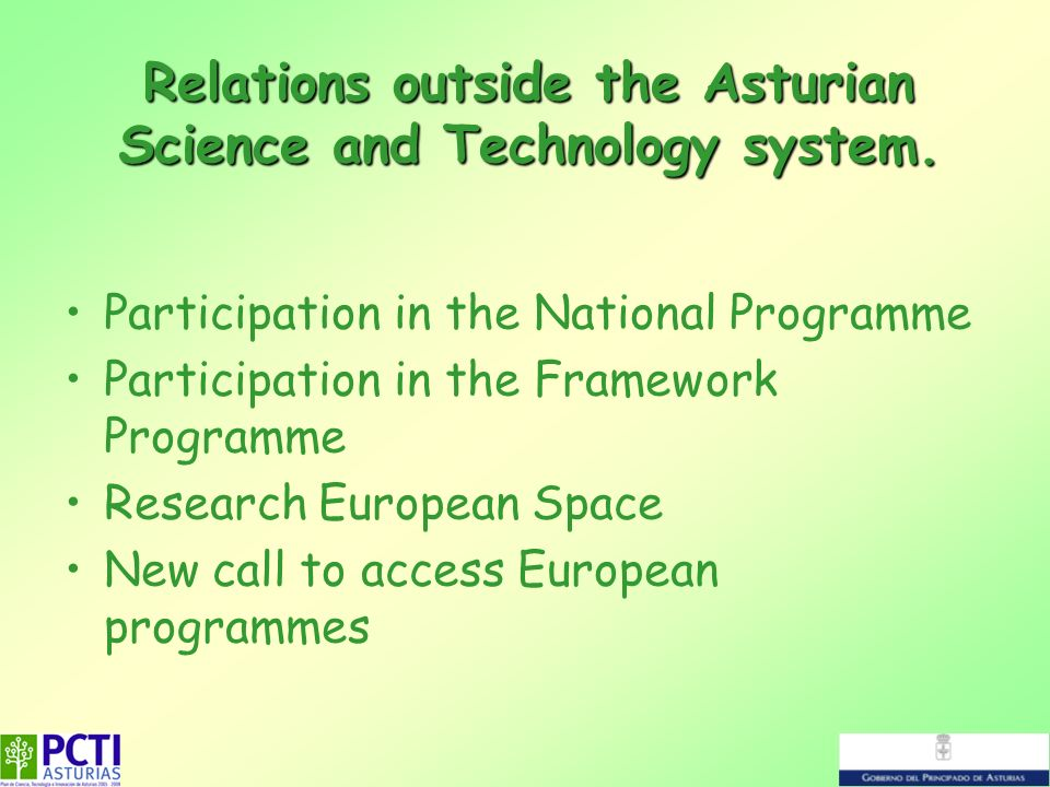 Relations outside the Asturian Science and Technology system. Participation in the National Programme Participation in the Framework Programme Researc