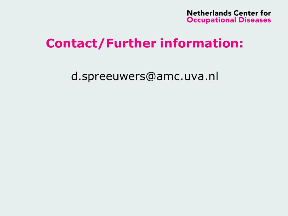Contact/Further information: d.spreeuwers@amc.uva.nl