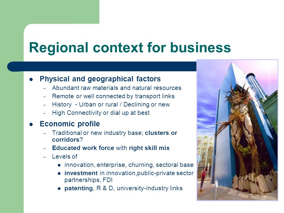 Regional context for business Physical and geographical factors – Abundant raw materials and natural resources – Remote or well connected by transport links – History - Urban or rural / Declining or new – High Connectivity or dial up at best Economic profile – Traditional or new industry base; clusters or corridors.