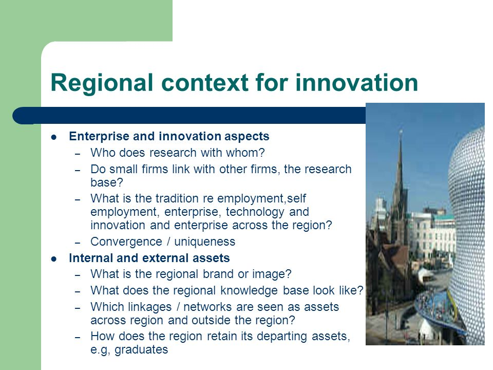 Regional context for innovation Enterprise and innovation aspects – Who does research with whom.
