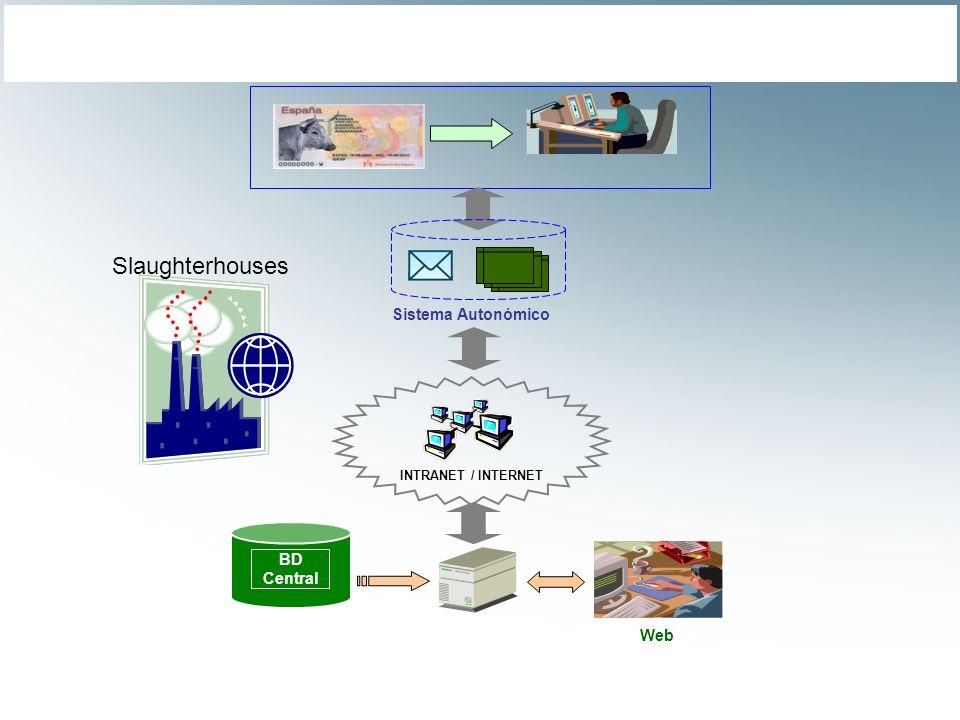 Sistema Autonómico INTRANET / INTERNET BD Central Web Slaughterhouses