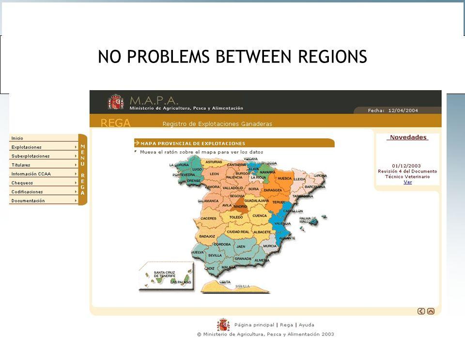 16 NO PROBLEMS BETWEEN REGIONS