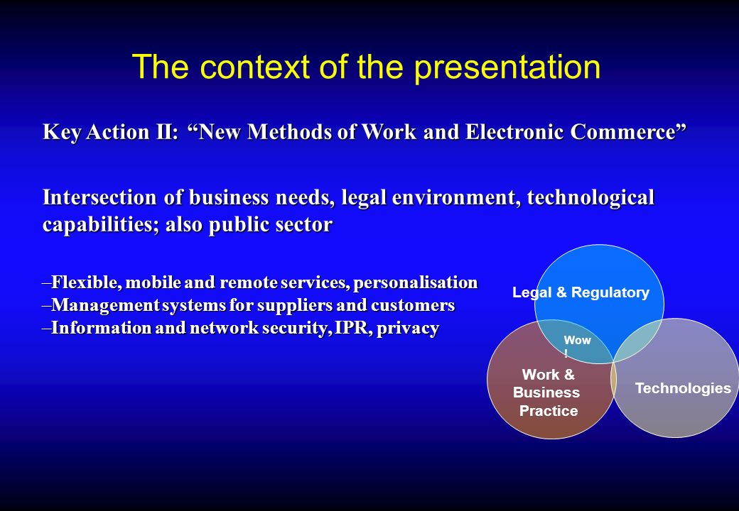 Participating Innovation in technologies and business models: participate to pilot and R&D projects of the Information Society Technologies Programme Innovation in technologies and business models: participate to pilot and R&D projects of the Information Society Technologies Programme G8 Global Marketplace for SMEs G8 Global Marketplace for SMEs European Commission and Electronic Commerce: legislation, business information, projects, background, etc.