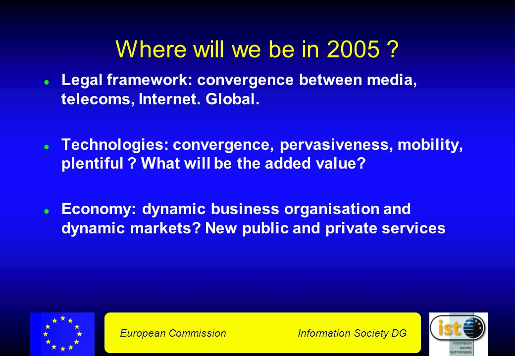 European Commission Information Society DG From value chain to value networks and dynamic markets Value Chain Value Network Dynamic Markets company business process market