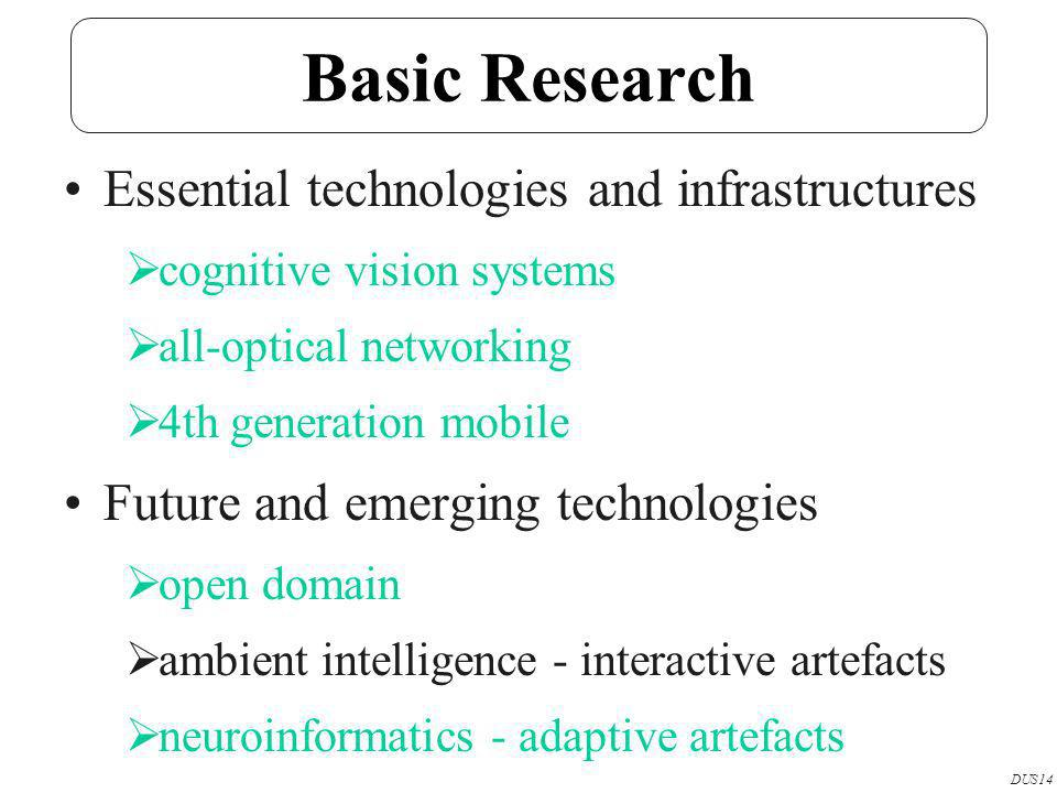 Basic Research Essential technologies and infrastructures cognitive vision systems all-optical networking 4th generation mobile Future and emerging technologies open domain ambient intelligence - interactive artefacts neuroinformatics - adaptive artefacts DUS14