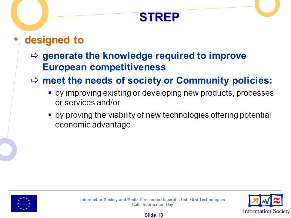 Information Society and Media Directorate-General - Unit Grid Technologies Call5 Information Day Slide 18 STREP designed to designed to generate the k