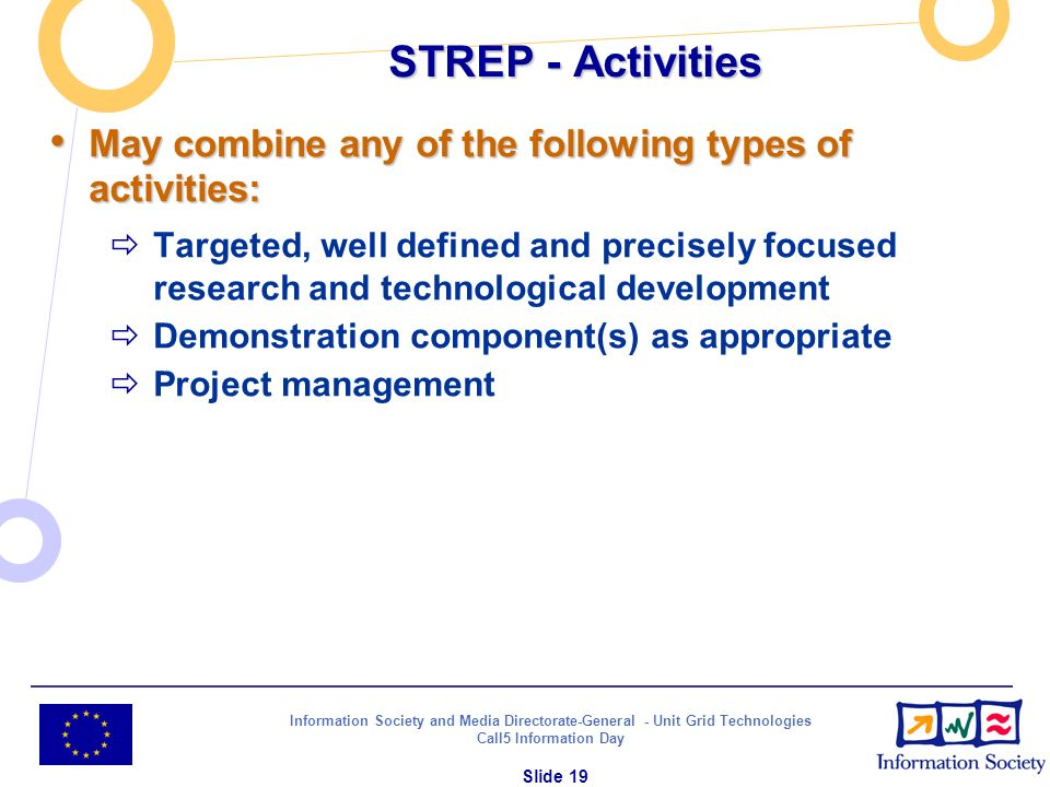 Information Society and Media Directorate-General - Unit Grid Technologies Call5 Information Day Slide 19 STREP - Activities May combine any of the fo
