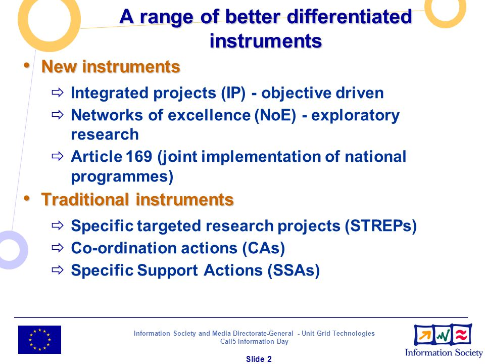 Information Society and Media Directorate-General - Unit Grid Technologies Call5 Information Day Slide 2 A range of better differentiated instruments