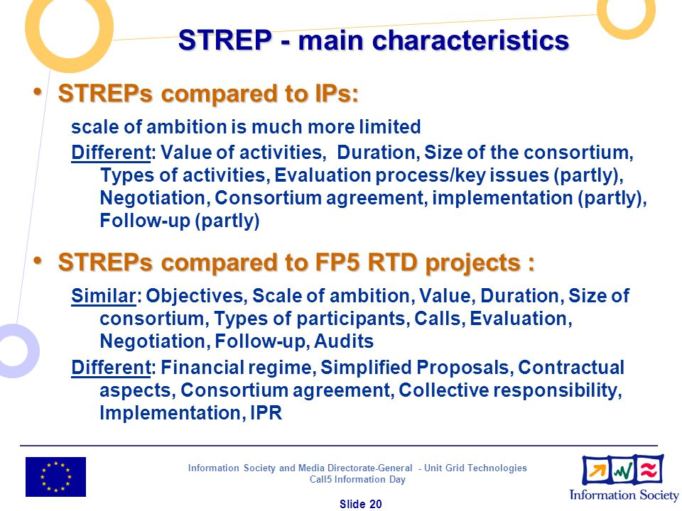 Information Society and Media Directorate-General - Unit Grid Technologies Call5 Information Day Slide 20 STREP - main characteristics STREPs compared