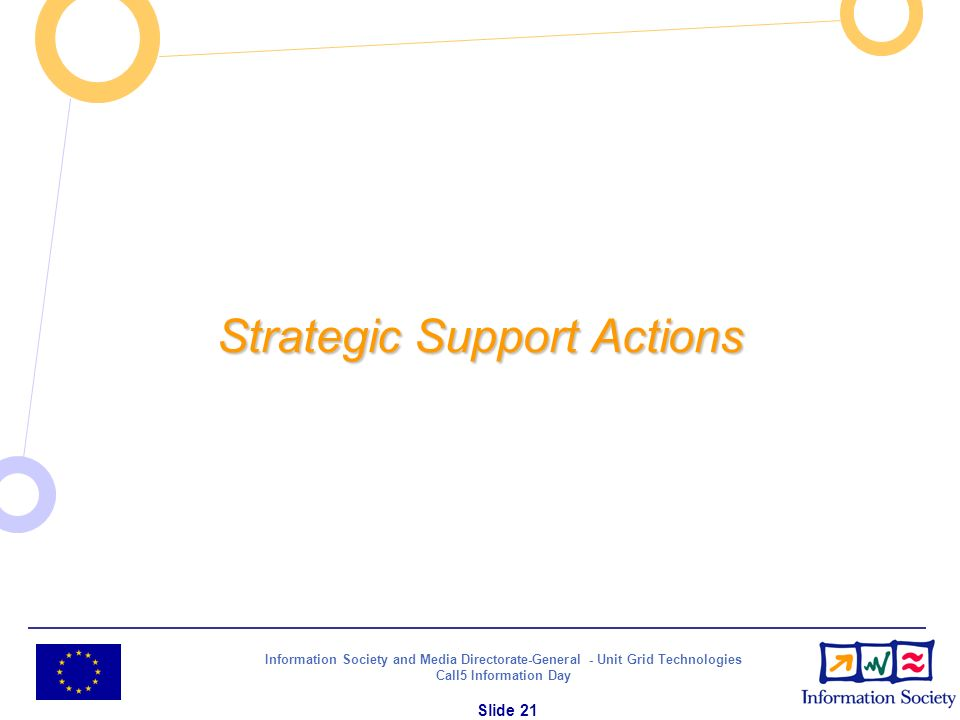 Information Society and Media Directorate-General - Unit Grid Technologies Call5 Information Day Slide 21 Strategic Support Actions