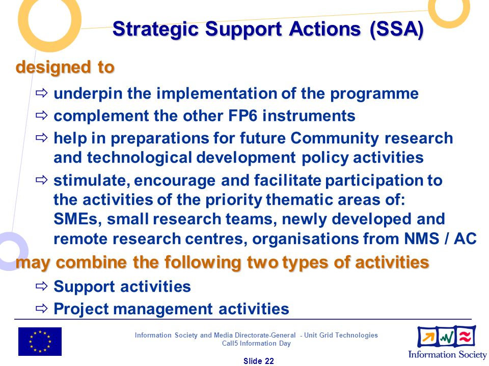 Information Society and Media Directorate-General - Unit Grid Technologies Call5 Information Day Slide 22 Strategic Support Actions (SSA) designed to