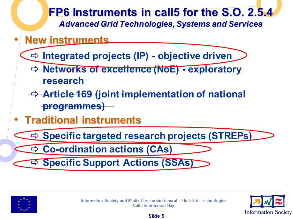 Information Society and Media Directorate-General - Unit Grid Technologies Call5 Information Day Slide 5 FP6 Instruments in call5 for the S.O. 2.5.4 A