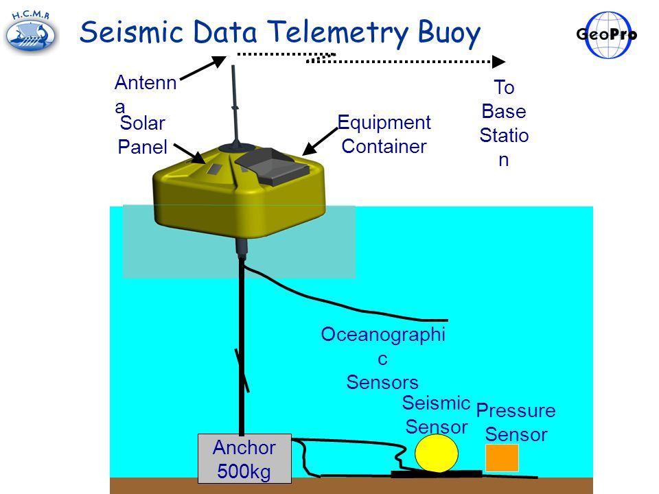 Anchor 500kg Oceanographi c Sensors Seismic Sensor To Base Statio n Antenn a Equipment Container Solar Panel Pressure Sensor Seismic Data Telemetry Bu