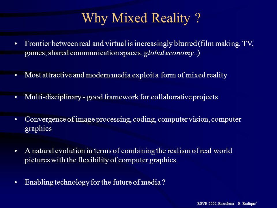EGVE 2002, Barcelona - E.Badique Why Mixed Reality .