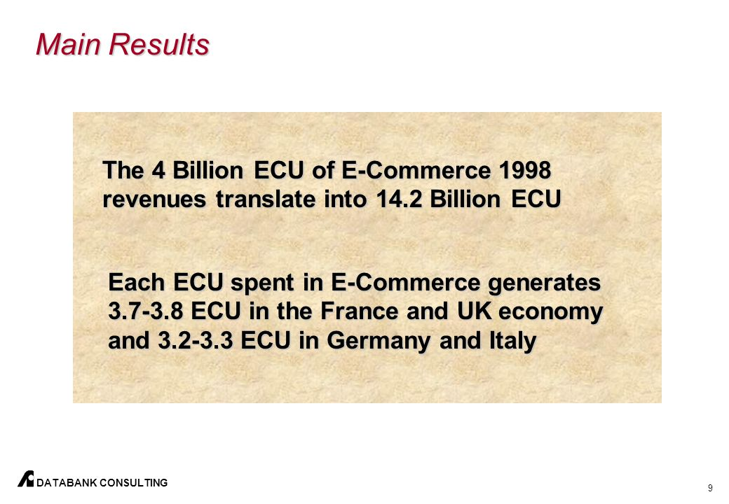 9 DATABANK CONSULTING Main Results The 4 Billion ECU of E-Commerce 1998 revenues translate into 14.2 Billion ECU Each ECU spent in E-Commerce generates 3.7-3.8 ECU in the France and UK economy and 3.2-3.3 ECU in Germany and Italy
