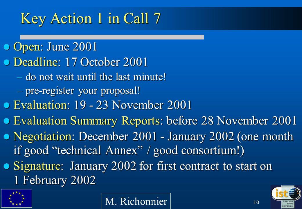 10 Key Action 1 in Call 7 Open: June 2001 Open: June 2001 Deadline: 17 October 2001 Deadline: 17 October 2001 –do not wait until the last minute! –pre