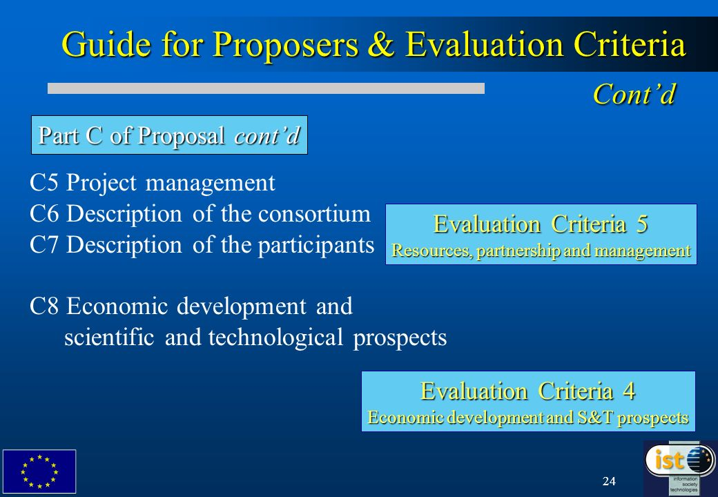 24 Guide for Proposers & Evaluation Criteria Contd Part C of Proposal contd C5 Project management C6 Description of the consortium C7 Description of t