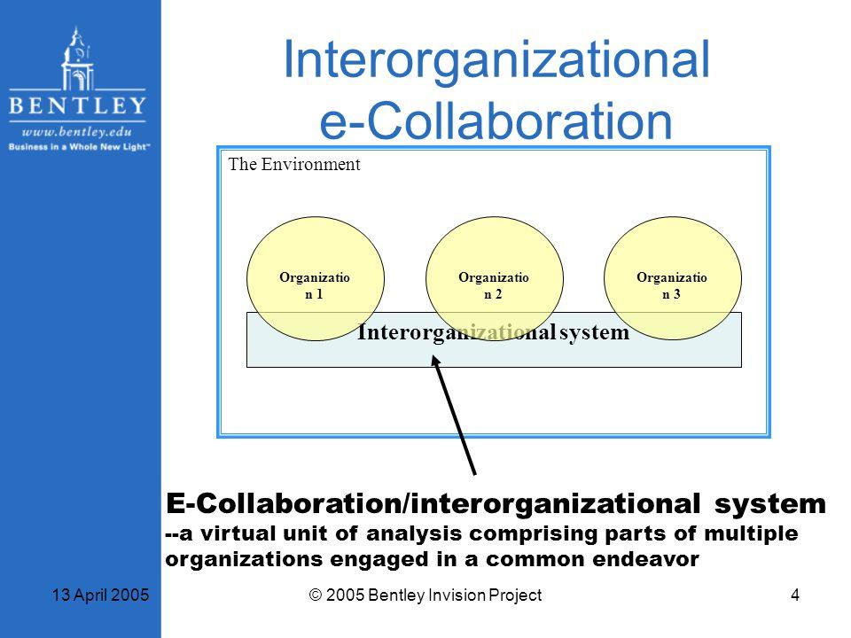 13 April 2005© 2005 Bentley Invision Project4 Interorganizational e-Collaboration The Environment Interorganizational system Organizatio n 1 Organizat