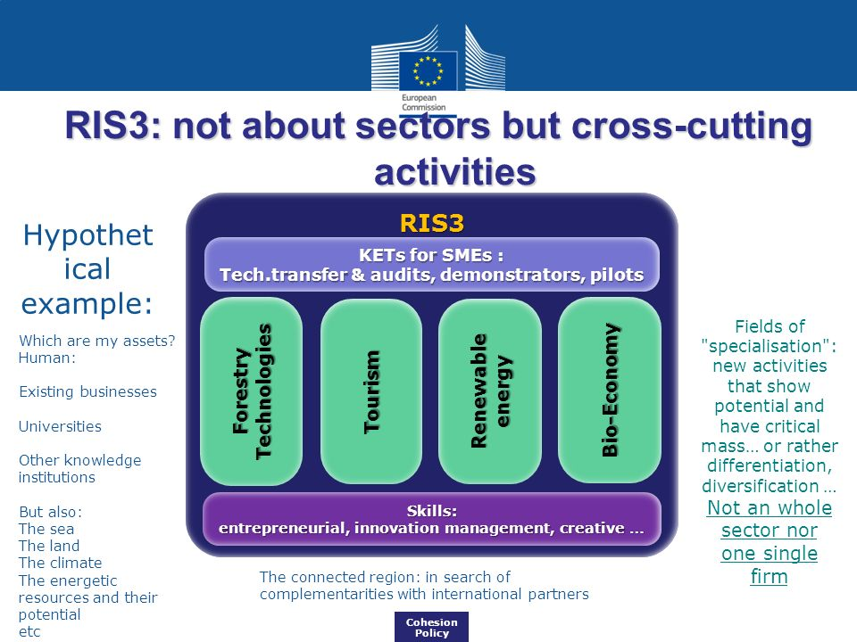 RIS3: not about sectors but cross-cutting activities Cohesion Policy RIS3 Skills: entrepreneurial, innovation management, creative … KETs for SMEs : Tech.transfer & audits, demonstrators, pilots Forestry Technologies Tourism Bio-Economy Renewable energy Hypothet ical example: Fields of specialisation : new activities that show potential and have critical mass… or rather differentiation, diversification … Not an whole sector nor one single firm Which are my assets.