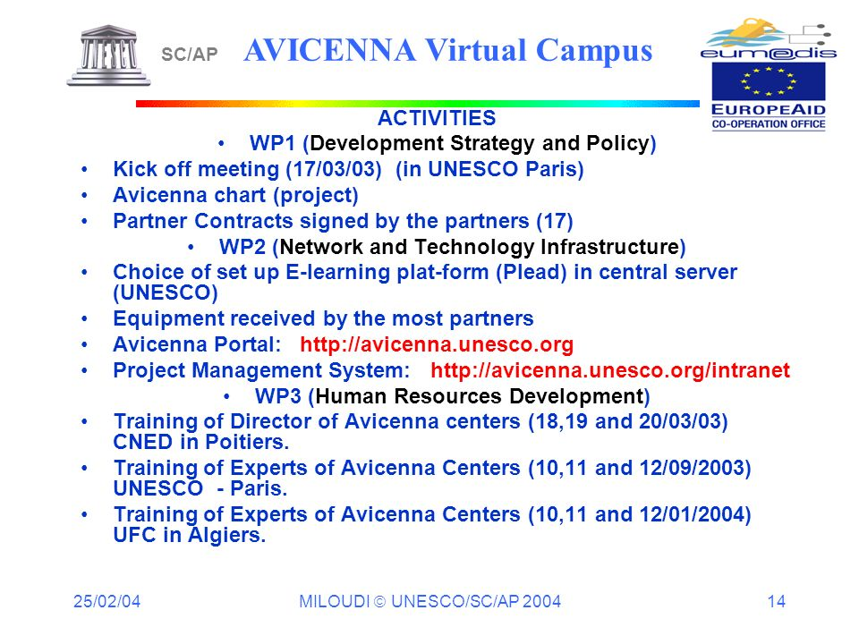 25/02/04 MILOUDI UNESCO/SC/AP 2004 14 ACTIVITIES WP1 (Development Strategy and Policy) Kick off meeting (17/03/03) (in UNESCO Paris) Avicenna chart (p