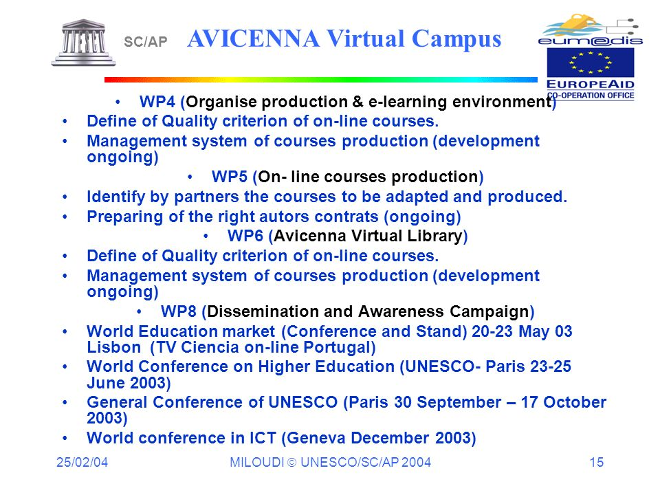 25/02/04 MILOUDI UNESCO/SC/AP 2004 15 SC/AP AVICENNA Virtual Campus WP4 (Organise production & e-learning environment) Define of Quality criterion of