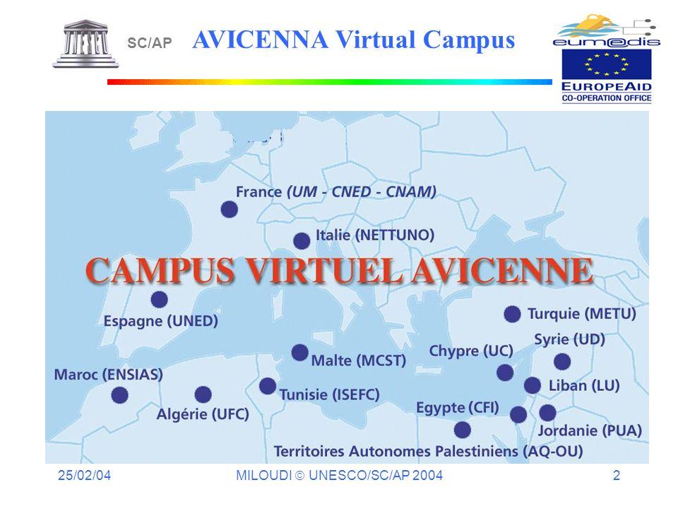 25/02/04 MILOUDI UNESCO/SC/AP 2004 2 SC/AP AVICENNA Virtual Campus