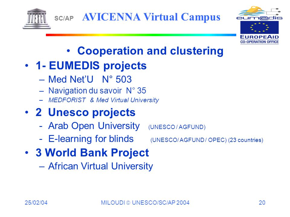 25/02/04 MILOUDI UNESCO/SC/AP 2004 20 Cooperation and clustering 1- EUMEDIS projects –Med NetU N° 503 –Navigation du savoir N° 35 –MEDFORIST & Med Virtual University 2 Unesco projects -Arab Open University (UNESCO / AGFUND) -E-learning for blinds (UNESCO/ AGFUND / OPEC) (23 countries) 3 World Bank Project –African Virtual University SC/AP AVICENNA Virtual Campus